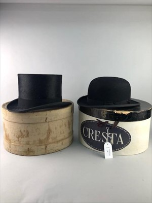 Lot 26-A SILK TOP HAT ALONG WITH A BOWLER