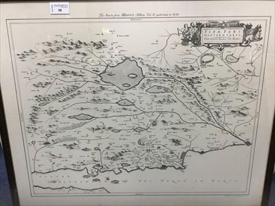 Lot 50-FACSIMILIE MAP OF FIFE, AFTER BLAEU'S ATLAS