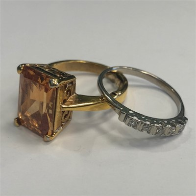 Lot 35-A DIAMOND FIVE STONE RING AND A GEM SET RING