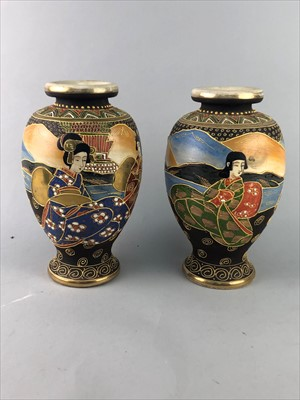 Lot 44-A PAIR OF CHINESE SATSUMA VASES ALONG WITH A TEAPOT AND BOWL