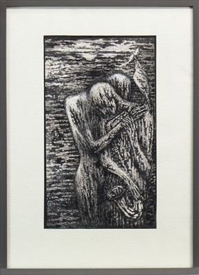 Lot 541-BLUES BUDDIES II, AN INK AND WASH BY JOSEPH URIE