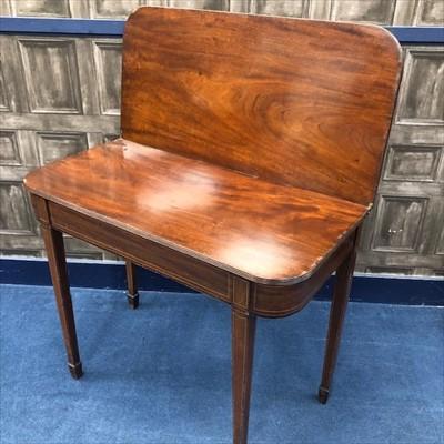 Lot 1627-A REGENCY MAHOGANY 'D' SHAPED TURNOVER TEA TABLE