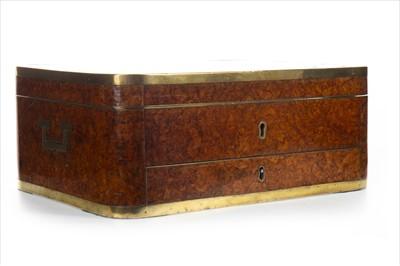 Lot 1628-A VICTORIAN BURR WALNUT AND BRASS BOUND OBLONG JEWEL CASKET