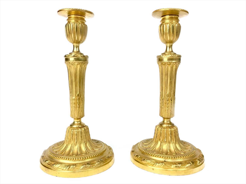Lot 1629-A PAIR OF VICTORIAN ORMOLU TABLE CANDLESTICKS