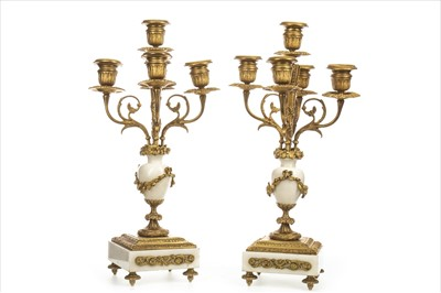 Lot 1631-A PAIR OF ORMOLU AND ONYX CANDELABRA