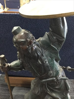 Lot 1133-A CHINESE BRONZED METAL WARRIOR FIGURE