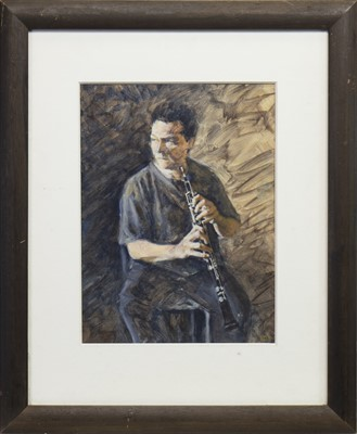 Lot 424-WOODWIND,  A GOUACHE BY TOBY DAVIDSON