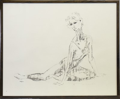 Lot 422-SEATED BALLET DANCER, A PRINT BY TOM MERRIFIELD