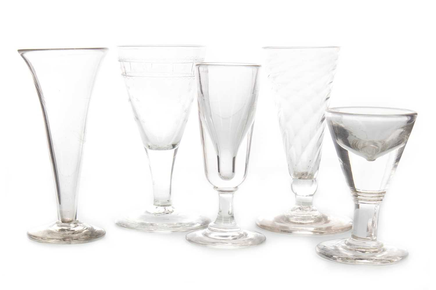 Lot 1290-A LOT OF FIVE 18TH AND 19TH CENTURY GLASSES