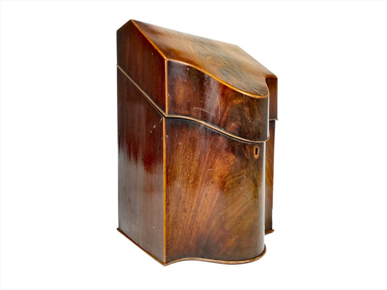 Lot 1640-A GEORGE III MAHOGANY CUTLERY BOX