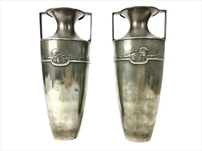 Lot 1642-A PAIR OF ART NOUVEAU PEWTER VASES