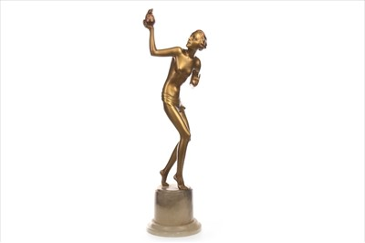 Lot 1644-AN ART DECO BRONZED SPELTER FIGURE