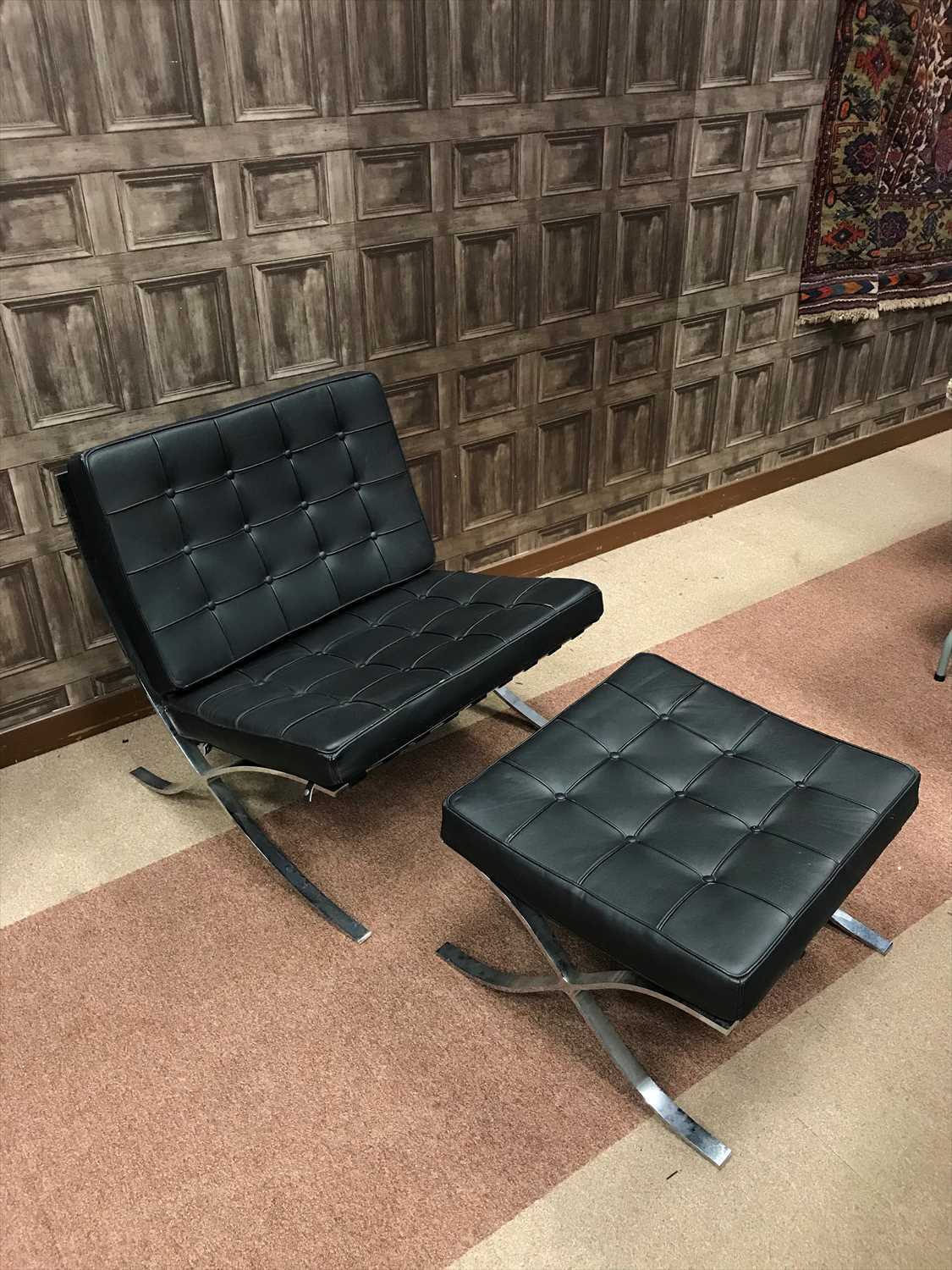 Lot 1647-A BARCELONA STYLE CHAIR AND FOOTSTOOL