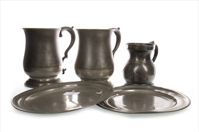 Lot 1648-A LOT OF TWO 18TH CENTURY PEWTER PLATES ALONG WITH THREE VICTORIAN MEASURES