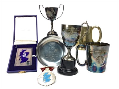Lot 1723-RACING INTEREST - MID-CENTURY RACING TROPHIES ALONG WITH TWO ENAMEL BADGES