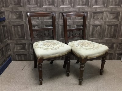 Lot 1653-A SET OF SIX VICTORIAN MAHOGANY SINGLE DINING CHAIRS