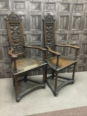 Lot 1602-A PAIR OF WALNUT CAQUETOIRE CHAIRS OF 16TH CENTURY DESIGN