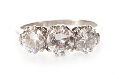 Lot 348-A DIAMOND THREE STONE RING