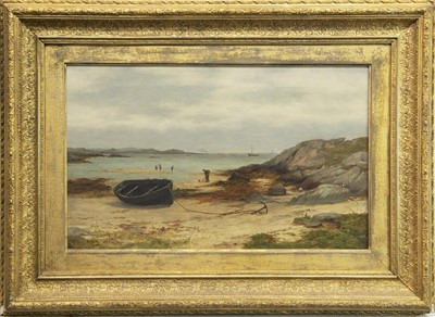 Lot 4-COASTAL SCENE WITH BEACHED BOAT, AN OIL BY GEORGE WHITTON JOHNSTONE