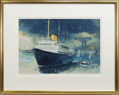 Lot 30-BRITANNIA, FAREWELL TO THE CLYDE, A SIGNED LIMITED EDITION PRINT BY JAMES WATT