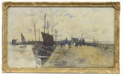 Lot 12-BOATS AT HARBOUR, A PAIR OF WATERCOLOURS BY ROBERT MCGOWN COVENTRY