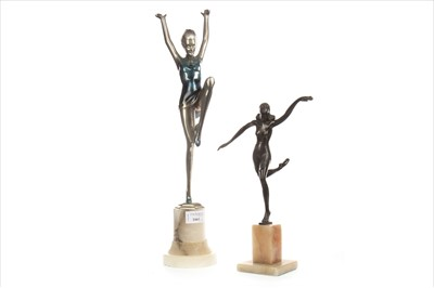 Lot 1661-AN ART DECO STYLE SILVERED BRONZE FIGURE OF A DANCER ALONG WITH ANOTHER
