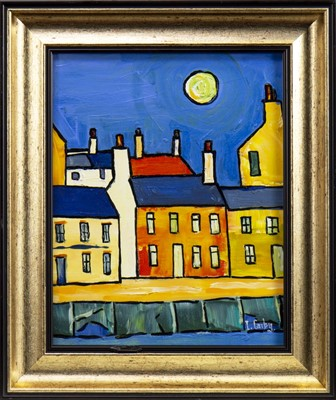 Lot 49-PORT BANNATYNE IN MOONLIGHT, AN OIL BY IAIN CARBY