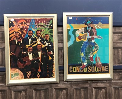 Lot 6-A PAIR OF POSTERS FOR THE NEW ORLEANS AND JAZZ HERITAGE FESTIVAL