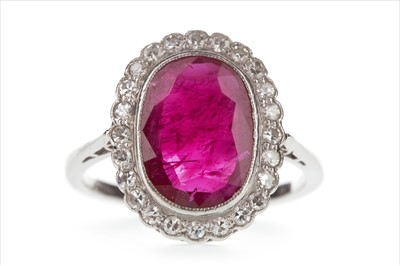 Lot 1306-A CERTIFICATED EDWARDIAN RED GEM AND DIAMOND RING
