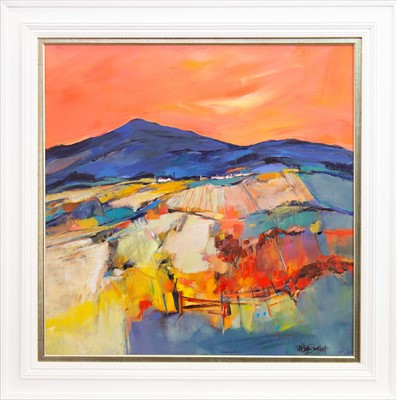 Lot 47-MISTY LAW, SUNSET, AN ACRYLIC BY SHELAGH CAMPBELL