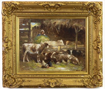 Lot 17-COWS FEEDING, AN OIL BY GEORGE SMITH