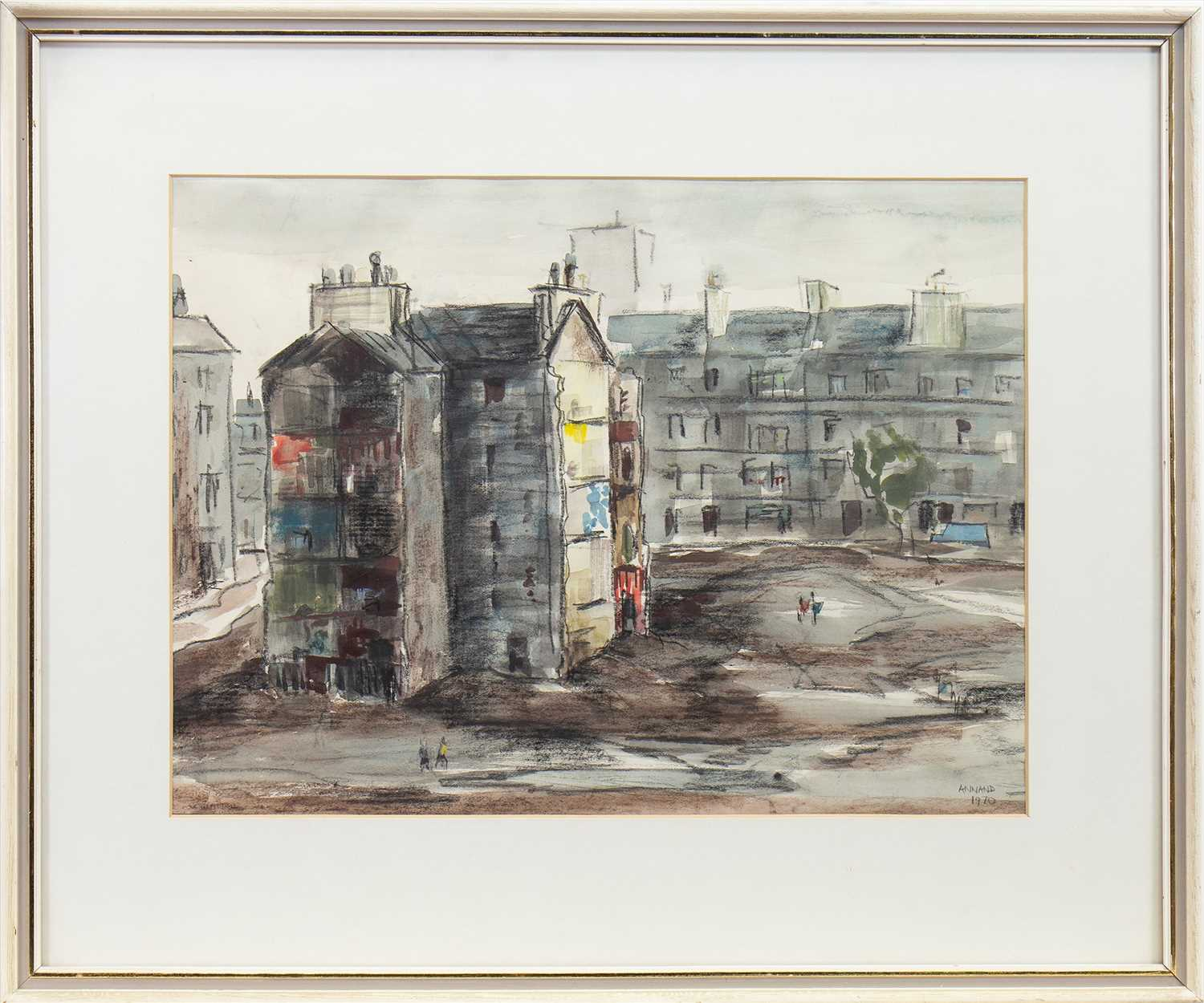 Lot 527-TENEMENTS, A MIXED MEDIA BY LOUISE GIBSON ANNAND