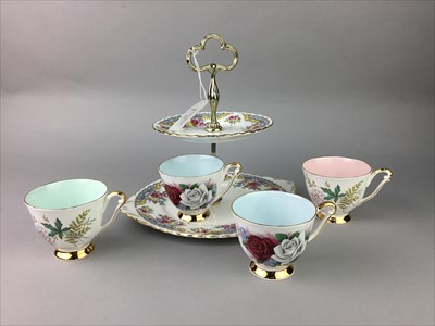 Lot 17-A THREE TIER CAKE STAND ALONG WITH OTHER CERAMICS