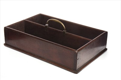 Lot 1669-A GEORGE III MAHOGANY CUTLERY TRAY WITH BRASS HANDLE