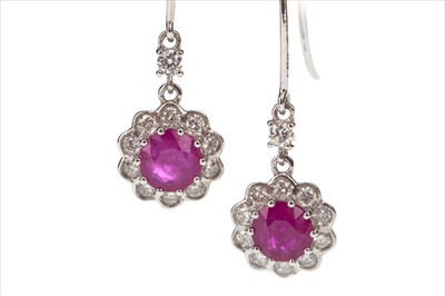 Lot 267-A PAIR OF RUBY AND DIAMOND EARRINGS