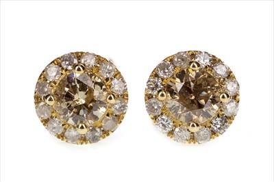 Lot 269-A PAIR OF DIAMOND CLUSTER EARRINGS