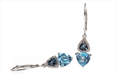 Lot 271-A PAIR OF TOPAZ AND DIAMOND EARRINGS