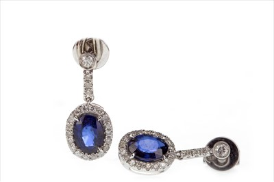 Lot 283-A PAIR OF SAPPHIRE AND DIAMOND EARRINGS