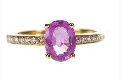 Lot 285-A PINK SAPPHIRE AND DIAMOND RING
