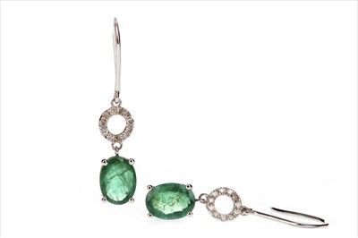 Lot 289-A PAIR OF EMERALD AND DIAMOND EARRINGS
