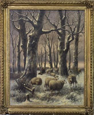 Lot 8-SHEEP IN A WINTER LANDSCAPE, AN OIL BY JOSEPH FARQUHARSON