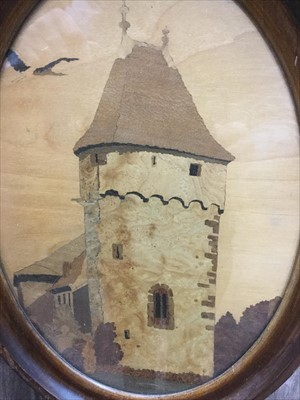 Lot 1717 - A MARQUETRY OVAL PANEL BY CHARLES SPINDLER AND THREE OTHERS