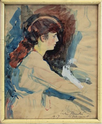 Lot 31-PORTRAIT STUDY OF A YOUNG GIRL, A WATERCOLOUR BY GEORGE LESLIE HUNTER