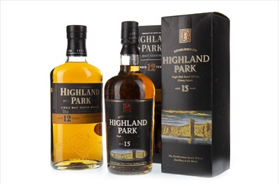 Lot 306-HIGHLAND PARK 15 YEARS OLD, 12 YEARS OLD AND ONE 18 YEAR OLD MINIATURE
