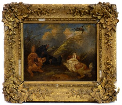 Lot 66-DOGS FLUSHING OUT A DUCK, AN OIL