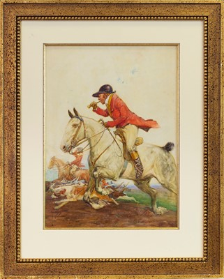 Lot 16-THE HUNT, A WATERCOLOUR BY LAWSON WOOD
