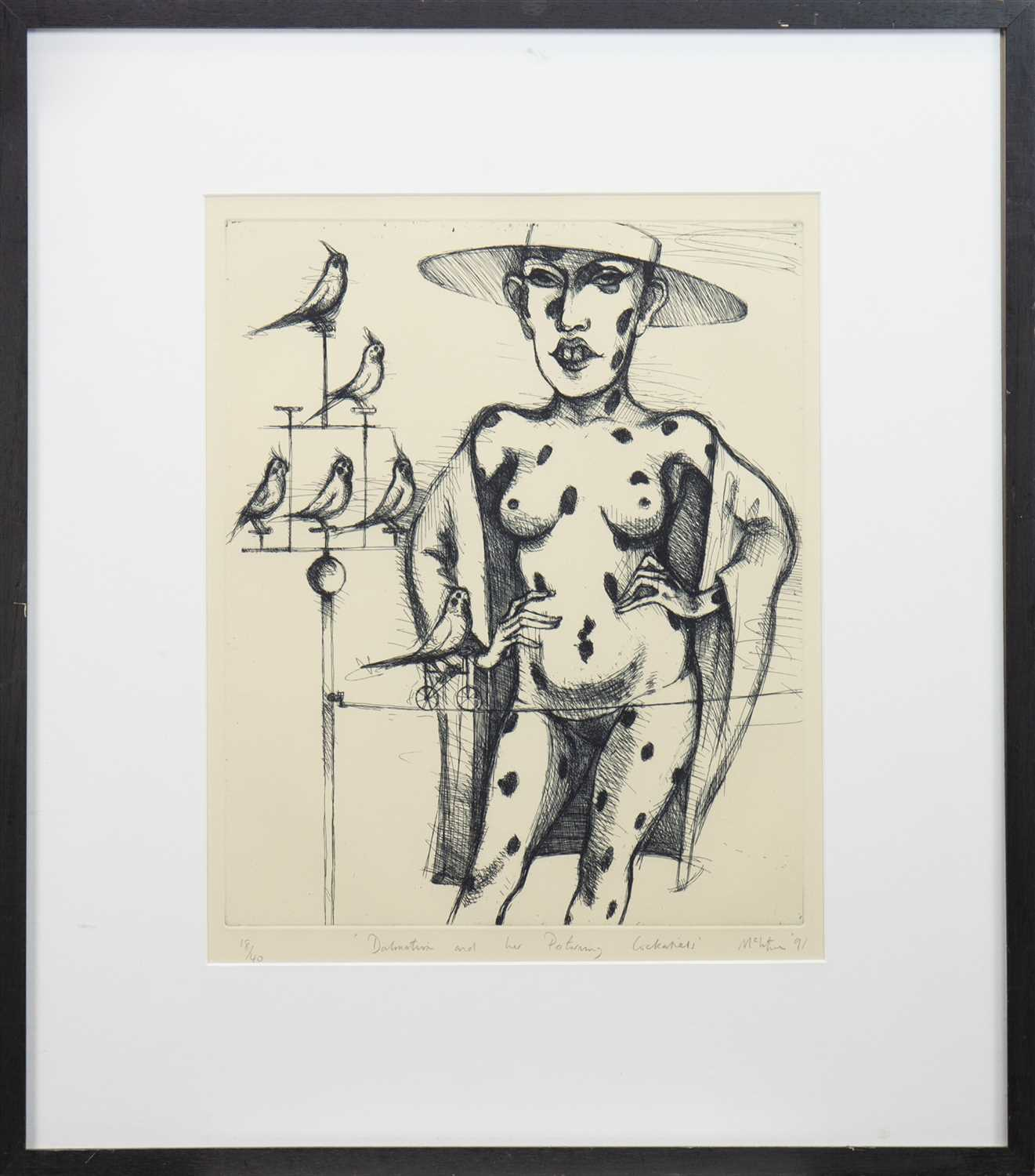 Lot 505-DALMATIAN AND HER PERFORMING COCKTEILS, AN ETCHING BY KEITH MCINTYRE