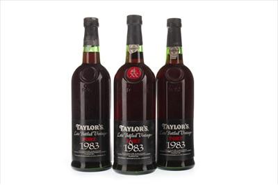 Lot 2026-THREE BOTTLES OF TAYLOR'S 1983 LBV