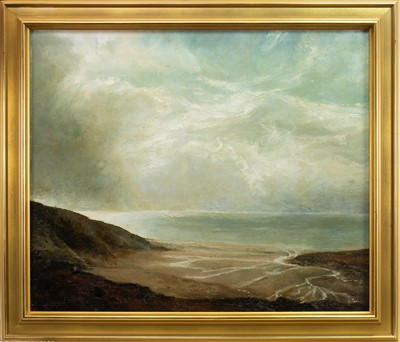 Lot 654-COASTAL SCENE, AN OIL BY MARION DRUMMOND