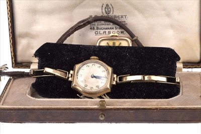 Lot 757-TWO LADY'S GOLD WATCHES